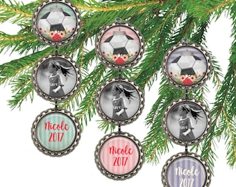 Girls soccer photo ornament, personalized Christmas ornament, soccer ball sports, custom name and date picture ornament.