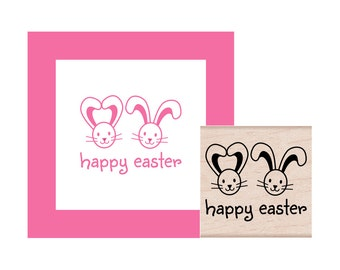 Happy Easter Bunnies Rubber Stamp