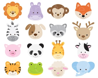 animal face clipart etsy rh etsy com cute animals clip art cute animal clipart pinterest