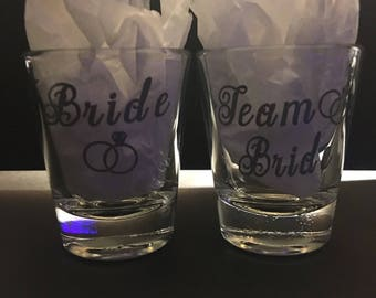 Custom Bachelorette Party Bride & Team Bride Shot Glasses - Many Color Options - Bridal Party - Custom Name and Date