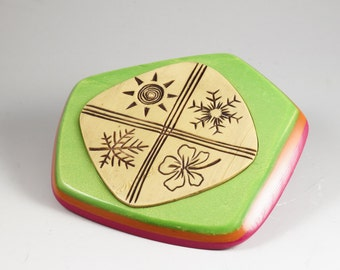 Faux Ivory Brooch - Green Pink Orange Carved Seasons Pin No. 141