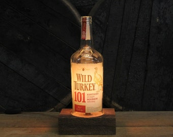 Wild Turkey 101 Bourbon Table Lamp - Features Reclaimed Wood Base, Edison Bulb, Twisted Cloth Wire, In line Switch, And Plug, Handmade Light