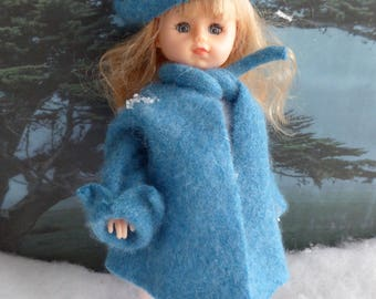 Handmade CASHMERE DOLL COAT with Matching Beret for all 7.5-9in/19-23cm dolls like Ginny, Licca Chan, Riley Kish, early Skipper