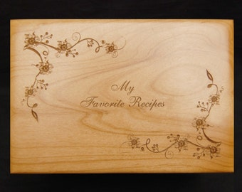 Gift for Cook, Recipe Box, Engraved Recipe Box, Sunflower, Recipe Box, Wood Recipe Box, Engraved Recipe Box, Recipe Box and Cards