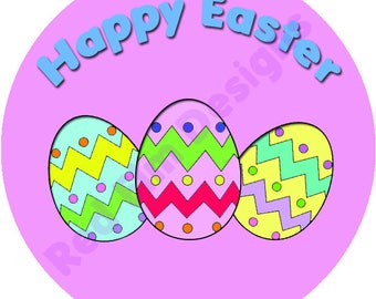"""Happy Easter Stickers - Sheet of 20 - 2"""" round. Easter Party Favors.  2 Inch Round Easter Stickers"""