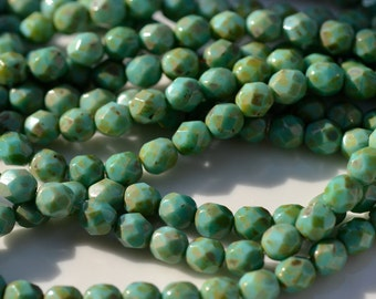Turquoise PIcasso Round Faceted Fire Polish Czech 6mm Glass Beads   25