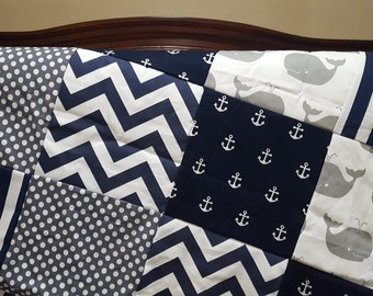 Nautical Patchwork Blanket- White Gray Whales,  Navy Stripe, Gray Dot, Navy Chevron, and Navy Anchors Patchwork Blanket