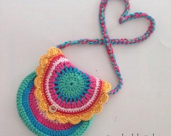 gehaakte meisjes tas, crocheted girls bag, girls purse, rainbow purse