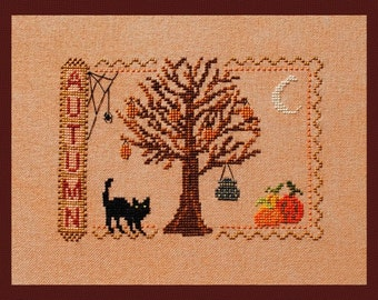 "Cross Stitch Instant Download ""Autumn"" Halloween-ish Pattern  Counted Embroidery Chart Cat Tree Pumpkins Fall Season Sampler X Stitch Design"