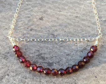 Red Garnet Necklace, Garnet Bar Necklace Sterling Silver, Red Gemstone Necklace, Minimalist, Gift for Her