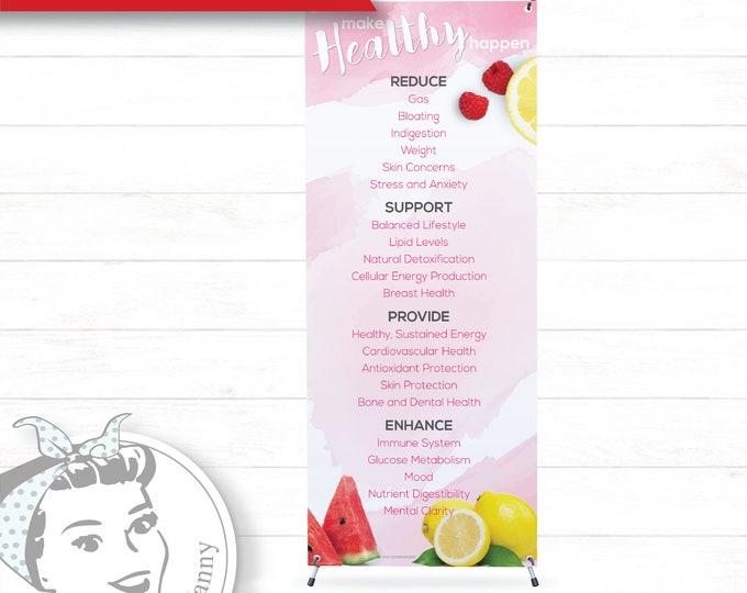 Banner with X-Stand - Watercolor, plexus Banner, New slim, Pink Drink, Pink Drink Update, plexus Swag