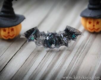 Black Glitter Bat Ring