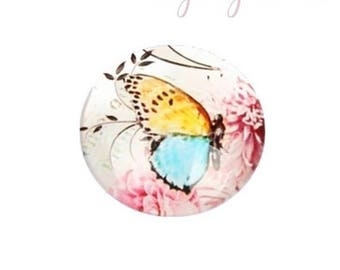 30mm blue and Yellow Butterfly glass cabochon