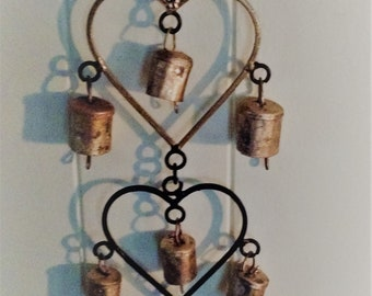 Three iron hearts with bells wind chimes