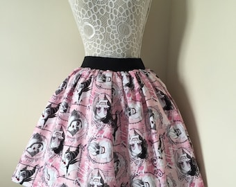 Ladies or girls Disney Villains pink full skater style skirt