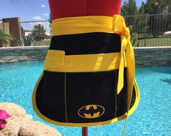 Batman Inspired Half Vendor Apron, Gardening, Utility, Teacher Gifts, Farmer's Market, Sassy Apron with 6 Pockets