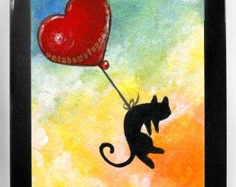 Black Cat Print, Heart Balloon Wall Art, I Love You, Baby Animal Nursery Room, Whimsical Decor, Orange and Blue Sky, Pet Owner Gift