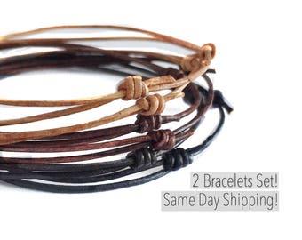 Simple Bracelet, Gift for Teen Boy, Leather Bracelet, Everyday Bracelet, Summer Jewelry Adjustable Bracelet, Gift for Son, Gift for Grandson