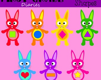 Bunny Shapes Digital Clip Art Set Circle Square Rectangle Triangle-- Buy 2 GET 1 FREE