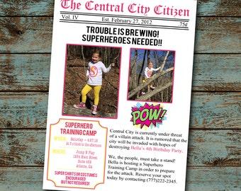 Superhero / Supergirl Birthday Party Invitation - Superhero Newspaper Invitation - Super Birthday Invitation - Flash Birthday - Digital File