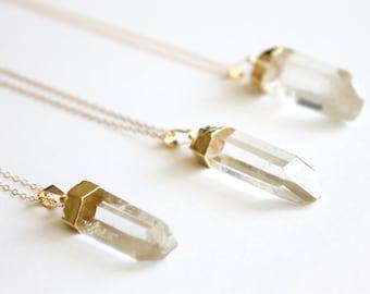 Quartz Point Necklace - 14k Gold Filled Necklace - Raw Quartz - Crystal Necklace - Clear Quartz - Healing Crystal - Raw Crystal Necklace