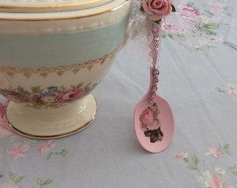 Shabby Pink Sugar Spoon