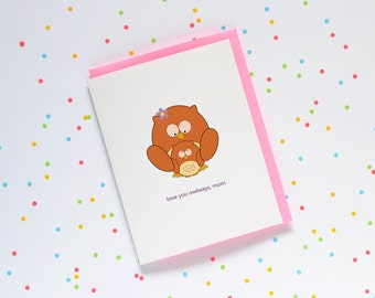 Mother's Day Owls - card cute cartoon love you owlways always mom baby owl mother daughter