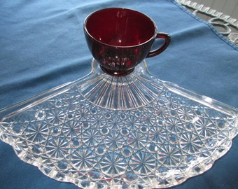 Vintage Glass Fan Plate With Ruby Red Cup Collectible Glassware Dinnerware Depression Glass