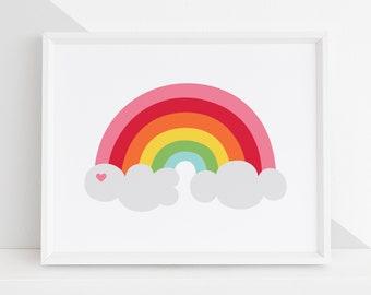 Rainbow DIY Printable Digital Wall Art Prints - kids playroom bedroom nursery home decor - 5 PDF sizes - Portrait and Landscape