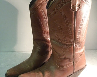 LOVELY 'Top Shop' Tan Leather Cowboy Boots, Leather Sole, UK Size 5 - Cute!!