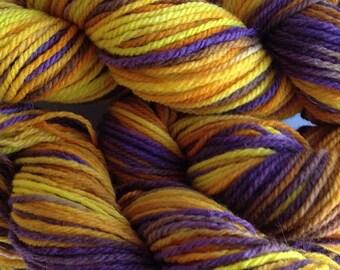 Merino Wool Yarn Worsted Weight Hand Dyed Yarn in Valley Sunflower Hand Painted Yellow Orange Purple