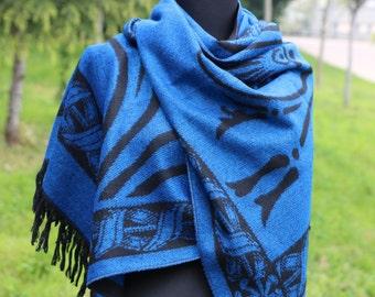 Royal Blue Blanket Scarf /Blue Blanket Scarf For Women / Bohemian Blanket Scarf / Boho Blanket Scarf / Blanket Scarf / Trend Blanket Scarf