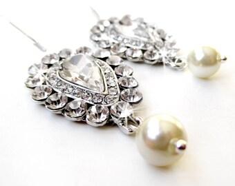 SALE! Rhinestone and Pearl Dangle Earrings - Teardrop Rhinestone Earrings in Silver - Teardrop Crystal Dangle - Pear