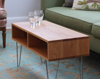 White Oak Coffee Table with Stainless Hairpin Legs, Mid-Century Modern Inspired