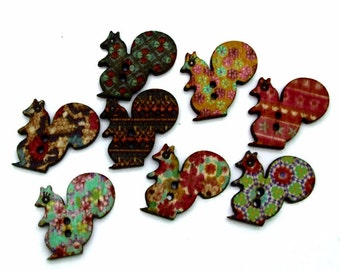 """Pkg of 10 SQUIRREL 2-hole Wood Buttons 1"""" (20mm) Scrapbook Doll Craft Decorative Animal Shaped (#9266) Assorted Designs"""