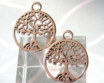 Small Tree Of Life Charm, Antique Silver, 4 Pieces, AS462