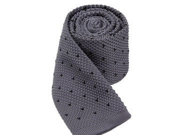 Grey Knitted Ties With Black Dots.Mens Knit Neckties.Wedding Ties for Men