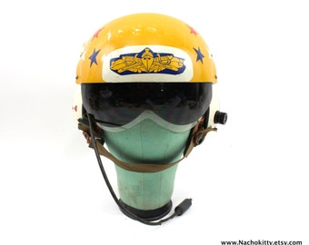 1970s Gentex Helicopter Flight Helmet Personalized by the Pilot