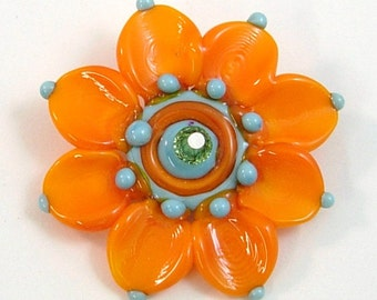 Orange and Turquoise Flower by Mystic Moon Beads U5