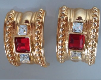 Red and Clear Rhinestone Clip On Earrings-Rhinestone and Gold Clip On Earrings-Christmas Earrings-Red and Gold Earrings-Holiday Earrings