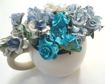 15 Blues White Curly Mulberry Paper flower scrapbook card making home decor wedding craft supply Baby Showers G2/607