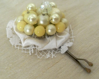 Floral Bobby Pin, Hair Accessory, Upcycled Vintage Jewelry, Yellow Beaded Hair Pin