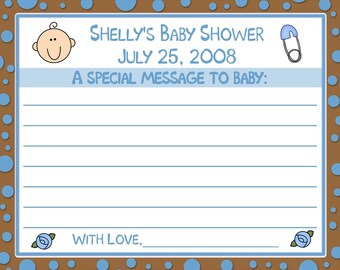 24 Baby Shower Message to Baby Cards - Blue and Chocolate Brown