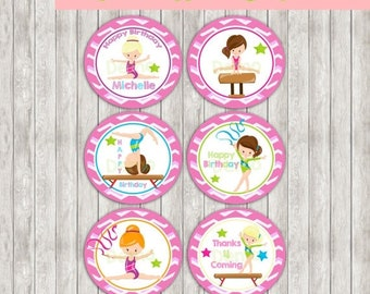 50%Off Cupcake Toppers - Tags Gymnastic, Cupcake Toppers, Gymnastic Cake Toppers, Gymnastic Tags Birthday Printables, Gymnastic party printa