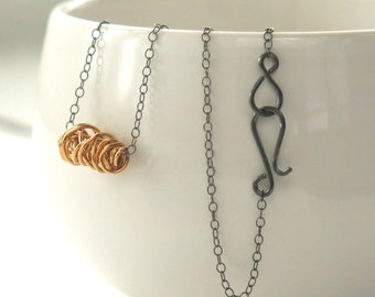 SIMPLI . Mixed Metal Tiny Necklace . goldfill, oxidized silver necklace layering necklace