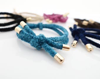 A Set of 6 Non Slip  Knot Tweed Style Elastic Bands Ponytail Holder Women Hair Accessory