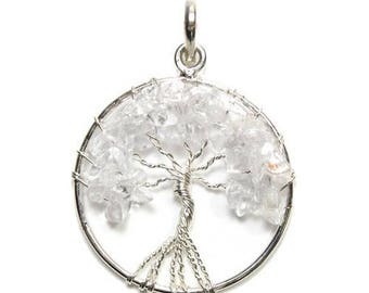 Tree of life pendant silver plated - Crystal