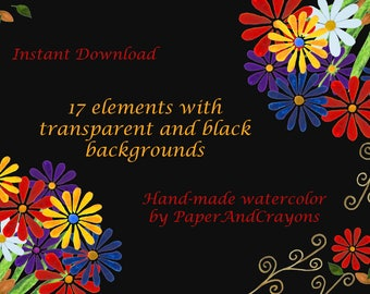 Watercolor Background Download Gerbera Floral Clip Art, Flower Bouqet, Flower Frames