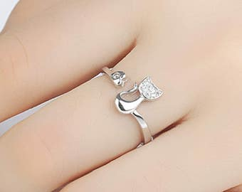 Beautiful Silver Style Cat Ring Diamante Jewellery Kitten Cat Lover - One Size Adjustable R101