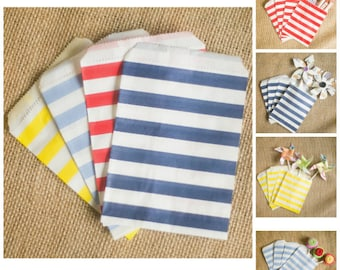 Favor Bags Party Bags Treat Bags 10 Stripe Favor Bags Nautical Favors Beach Party Bags Birthday Decorations Party Favors Summer Party Bags